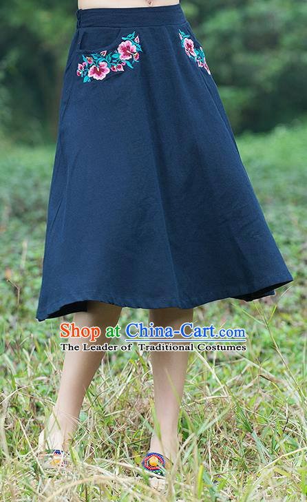 Traditional Ancient Chinese National Pleated Skirt Costume, Elegant Hanfu Linen Embroidery Navy Dress, China Tang Suit Bust Skirt for Women