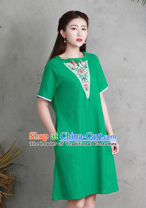 Traditional Ancient Chinese National Costume, Elegant Hanfu Linen Embroidery Green Dress, China Tang Suit Chirpaur Elegant Dress Clothing for Women