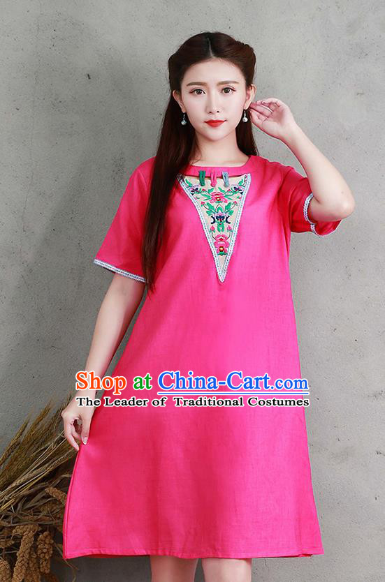 Traditional Ancient Chinese National Costume, Elegant Hanfu Linen Embroidery Pink Dress, China Tang Suit Chirpaur Elegant Dress Clothing for Women