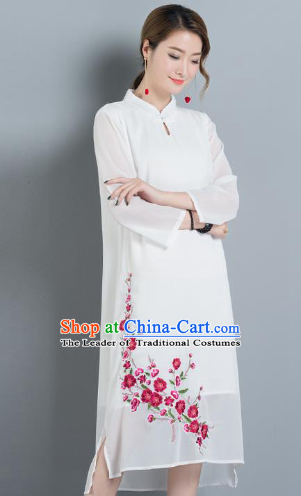 Traditional Ancient Chinese National Costume, Elegant Hanfu Stand Collar Embroidery White Dress, China Tang Suit Chirpaur Elegant Dress Clothing for Women