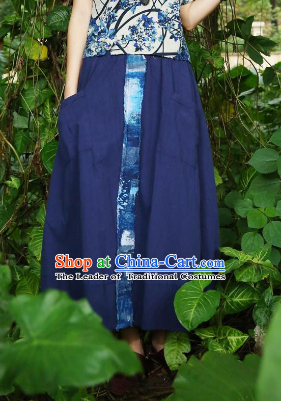 Traditional Ancient Chinese National Pleated Skirt Costume, Elegant Hanfu Embroidery Long Blue Dress, China Tang Dynasty Bust Skirt for Women