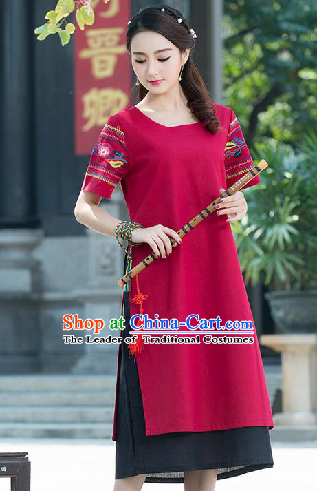 Traditional Ancient Chinese National Costume, Elegant Hanfu Mandarin Qipao Linen Embroidery Red Dress, China Tang Suit Chirpaur Elegant Dress Clothing for Women