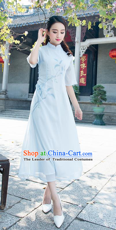 Traditional Ancient Chinese National Costume, Elegant Hanfu Mandarin Qipao Hand Painting Blue Dress, China Tang Suit Chirpaur Elegant Dress Clothing for Women