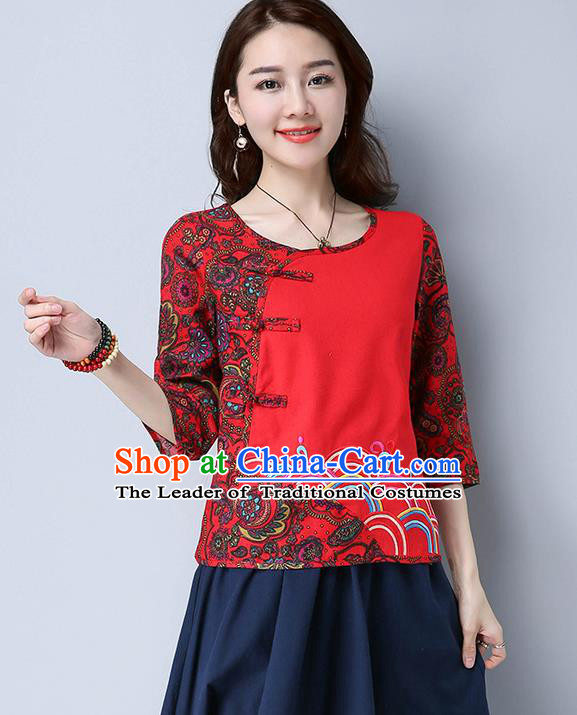 Traditional Chinese National Costume, Elegant Hanfu Embroidery Flowers Linen Red T-Shirt, China Tang Suit Chirpaur Blouse Cheong-sam Upper Outer Garment Qipao Shirts Clothing for Women