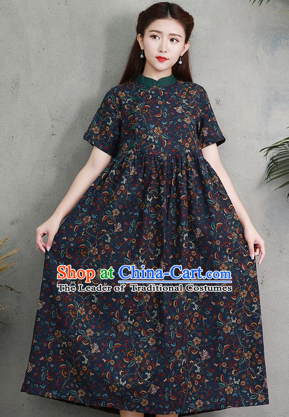 Traditional Ancient Chinese National Costume, Elegant Hanfu Printing Navy Big Swing Dress, China Tang Suit Chirpaur Cheongsam Elegant Dress Clothing for Women