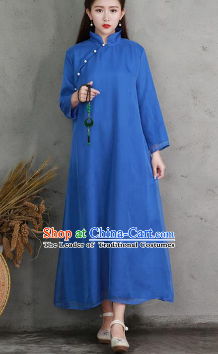 Traditional Ancient Chinese National Costume, Elegant Hanfu Mandarin Qipao Linen Slant Opening Blue Dress, China Tang Suit Chirpaur Republic of China Cheongsam Elegant Dress Clothing for Women