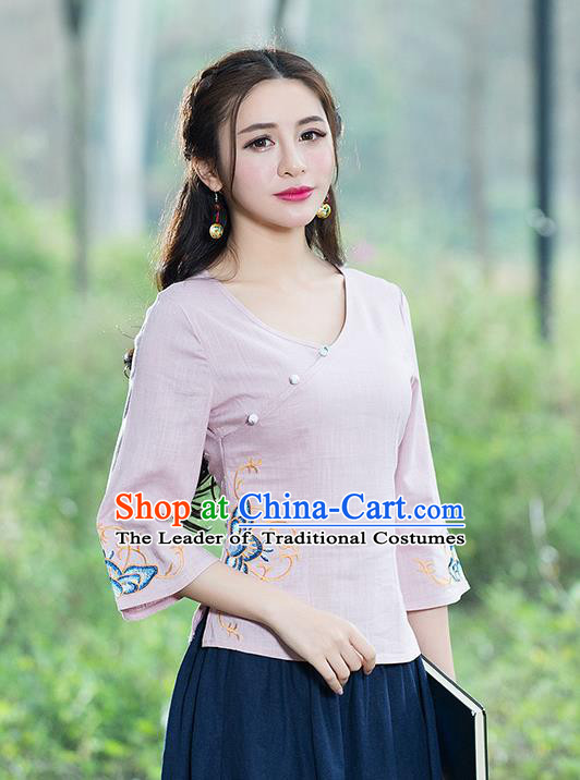 Traditional Chinese National Costume, Elegant Hanfu Embroidery Flowers Slant Opening Pink T-Shirt, China Tang Suit Republic of China Chirpaur Blouse Cheong-sam Upper Outer Garment Qipao Shirts Clothing for Women