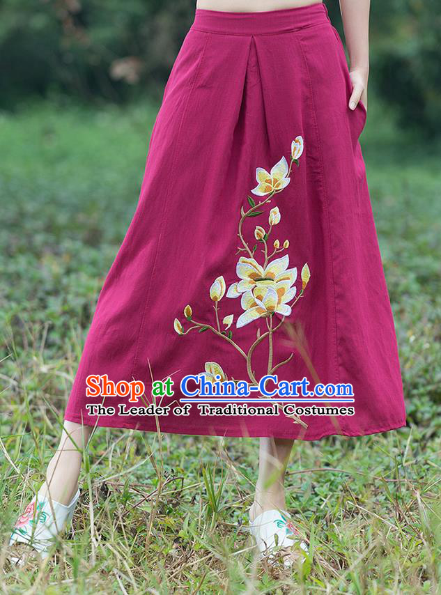 Traditional Ancient Chinese National Pleated Skirt Costume, Elegant Hanfu Linen Embroidery Long Red Dress, China Tang Suit Bust Skirt for Women