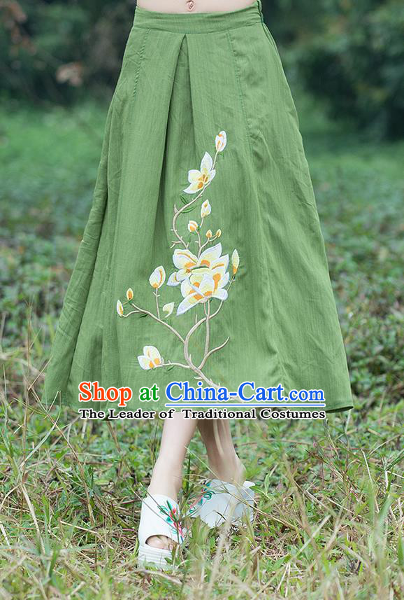 Traditional Ancient Chinese National Pleated Skirt Costume, Elegant Hanfu Linen Embroidery Long Green Dress, China Tang Suit Bust Skirt for Women