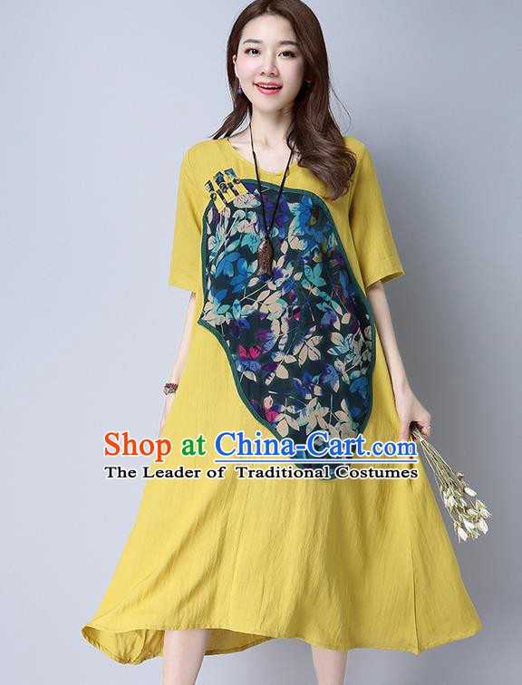 Traditional Ancient Chinese National Costume, Elegant Hanfu Linen Patch Embroidered Yellow Dress, China Tang Suit Chirpaur Cheongsam Elegant Dress Clothing for Women