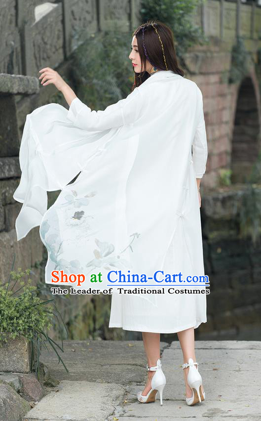 Traditional Ancient Chinese National Costume, Elegant Hanfu Cardigan Coat, China Tang Suit Chiffon Ink Painting Cape, Upper Outer Garment Dust Coat Cloak Clothing for Women