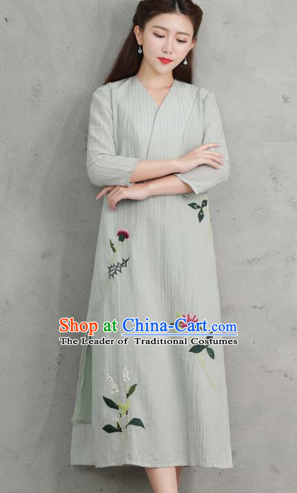 Traditional Ancient Chinese National Costume, Elegant Hanfu Mandarin Qipao Embroidery Dress, China Tang Suit Chirpaur Elegant Dress Clothing for Women