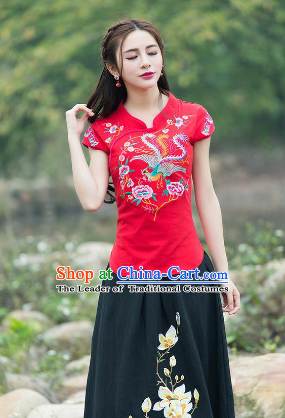 Traditional Chinese National Costume, Elegant Hanfu Embroidery Flowers Stand Collar Red T-Shirt, China Tang Suit Chirpaur Blouse Cheong-sam Upper Outer Garment Qipao Shirts Clothing for Women