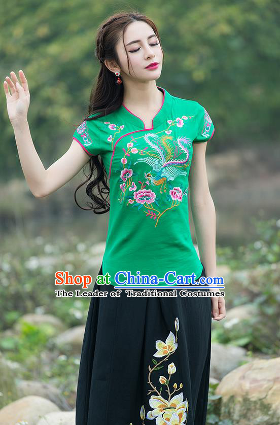 Traditional Chinese National Costume, Elegant Hanfu Embroidery Flowers Stand Collar Green T-Shirt, China Tang Suit Chirpaur Blouse Cheong-sam Upper Outer Garment Qipao Shirts Clothing for Women