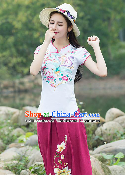 Traditional Chinese National Costume, Elegant Hanfu Embroidery Flowers Stand Collar White T-Shirt, China Tang Suit Chirpaur Blouse Cheong-sam Upper Outer Garment Qipao Shirts Clothing for Women