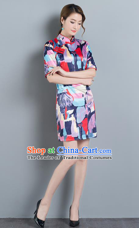 Traditional Ancient Chinese National Costume, Elegant Hanfu Mandarin Qipao Printing White Dress, China Tang Suit Chirpaur Republic of China Cheongsam Upper Outer Garment Elegant Dress Clothing for Women