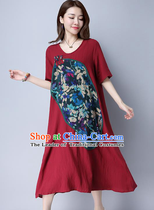 Traditional Ancient Chinese National Costume, Elegant Hanfu Linen Patch Embroidered Red Dress, China Tang Suit Chirpaur Cheongsam Elegant Dress Clothing for Women