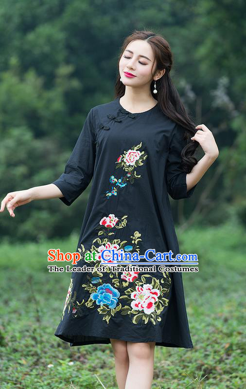 Traditional Ancient Chinese National Costume, Elegant Hanfu Embroidered Black Dress, China Tang Suit Chirpaur Cheongsam Elegant Dress Clothing for Women