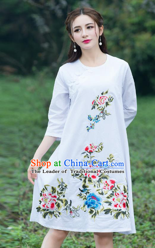 Traditional Ancient Chinese National Costume, Elegant Hanfu Embroidered White Dress, China Tang Suit Chirpaur Cheongsam Elegant Dress Clothing for Women