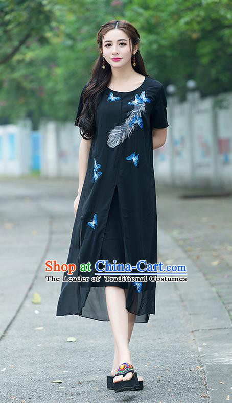 Traditional Ancient Chinese National Costume, Elegant Hanfu Embroidered Black Big Swing Dress, China Tang Suit Chirpaur Cheongsam Elegant Dress Clothing for Women
