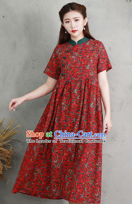 Traditional Ancient Chinese National Costume, Elegant Hanfu Printing Red Big Swing Dress, China Tang Suit Chirpaur Cheongsam Elegant Dress Clothing for Women