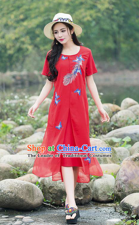 Traditional Ancient Chinese National Costume, Elegant Hanfu Embroidered Red Big Swing Dress, China Tang Suit Chirpaur Cheongsam Elegant Dress Clothing for Women