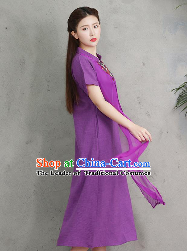 Traditional Ancient Chinese National Costume, Elegant Hanfu Embroidery Purple Stand Collar Dress, China Tang Suit Chirpaur Upper Outer Garment Elegant Dress Clothing for Women