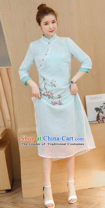 Traditional Ancient Chinese National Costume, Elegant Hanfu Printing Slant Opening Dress, China Tang Suit Chirpaur Cheongsam Elegant Dress Clothing for Women