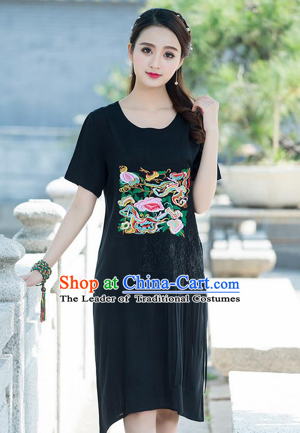 Traditional Ancient Chinese National Costume, Elegant Hanfu Mandarin Qipao Embroidered Lace Black Dress, China Tang Suit Chirpaur Republic of China Cheongsam Elegant Dress Clothing for Women