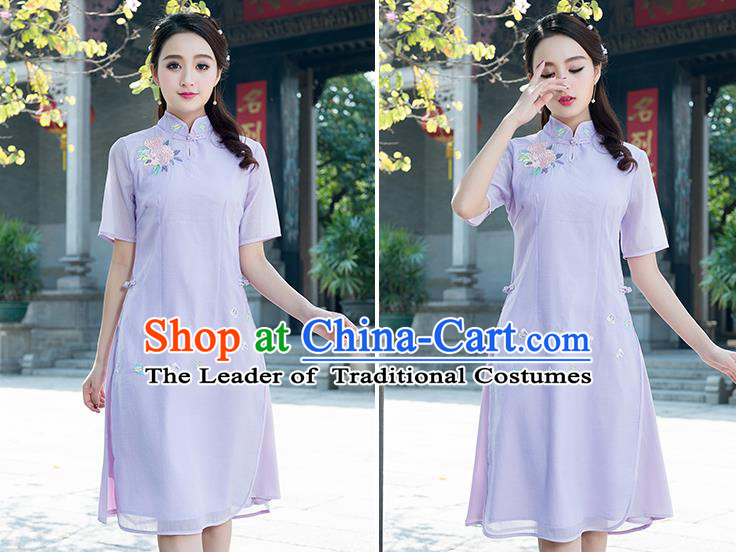 Traditional Ancient Chinese National Costume, Elegant Hanfu Mandarin Qipao Embroidered Organza Purple Dress, China Tang Suit Chirpaur Republic of China Cheongsam Elegant Dress Clothing for Women