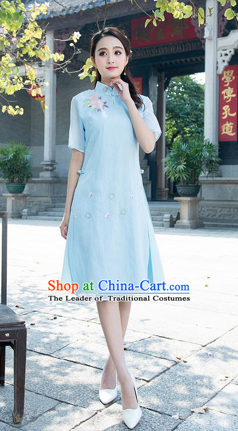 Traditional Ancient Chinese National Costume, Elegant Hanfu Mandarin Qipao Embroidered Organza Blue Dress, China Tang Suit Chirpaur Republic of China Cheongsam Elegant Dress Clothing for Women