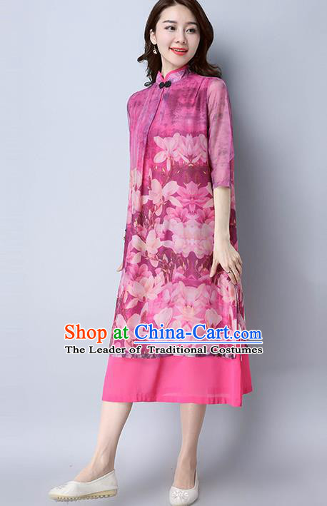 Traditional Ancient Chinese National Costume, Elegant Hanfu Mandarin Qipao Printing Silk Pink Dress, China Tang Suit Chirpaur Republic of China Cheongsam Elegant Dress Clothing for Women