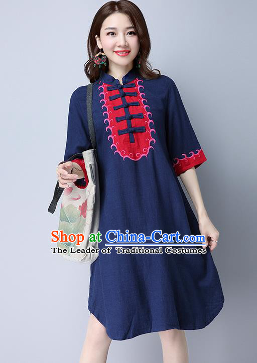 Traditional Ancient Chinese National Costume, Elegant Hanfu Mandarin Qipao Embroidered Navy Linen Dress, China Tang Suit Chirpaur Republic of China Cheongsam Elegant Dress Clothing for Women