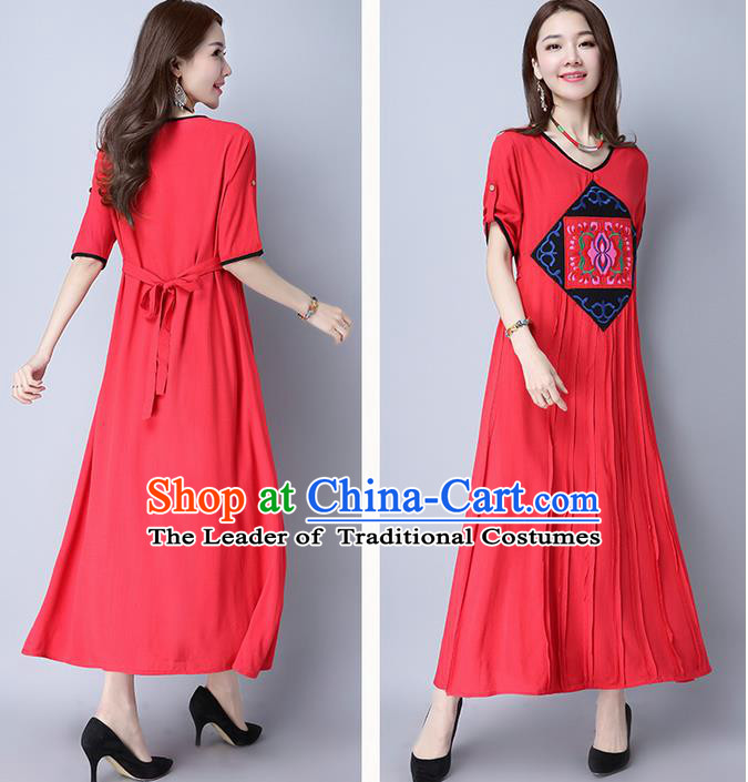 Traditional Ancient Chinese National Costume, Elegant Hanfu Mandarin Qipao Embroidered Red Linen Long Dress, China Tang Suit Chirpaur Republic of China Cheongsam Elegant Dress Clothing for Women