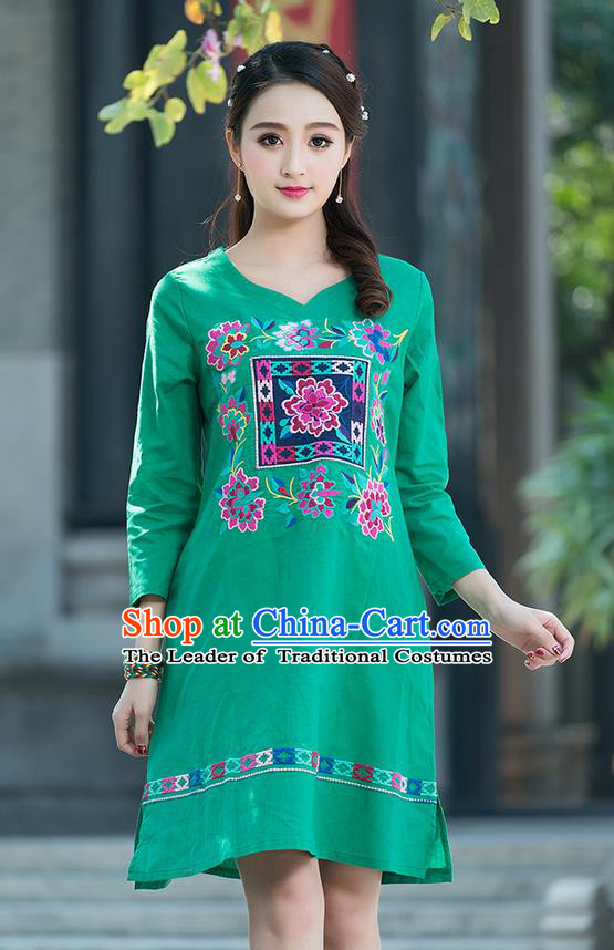 Traditional Ancient Chinese National Costume, Elegant Hanfu Mandarin Qipao Linen Embroidery Green Dress, China Tang Suit Chirpaur Elegant Dress Clothing for Women