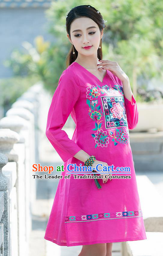 Traditional Ancient Chinese National Costume, Elegant Hanfu Mandarin Qipao Linen Embroidery Pink Dress, China Tang Suit Chirpaur Elegant Dress Clothing for Women