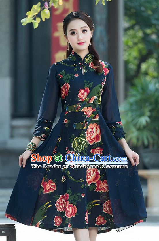 Traditional Ancient Chinese National Costume, Elegant Hanfu Mandarin Qipao Printing Peony Dress, China Tang Suit Chirpaur Elegant Dress Clothing for Women