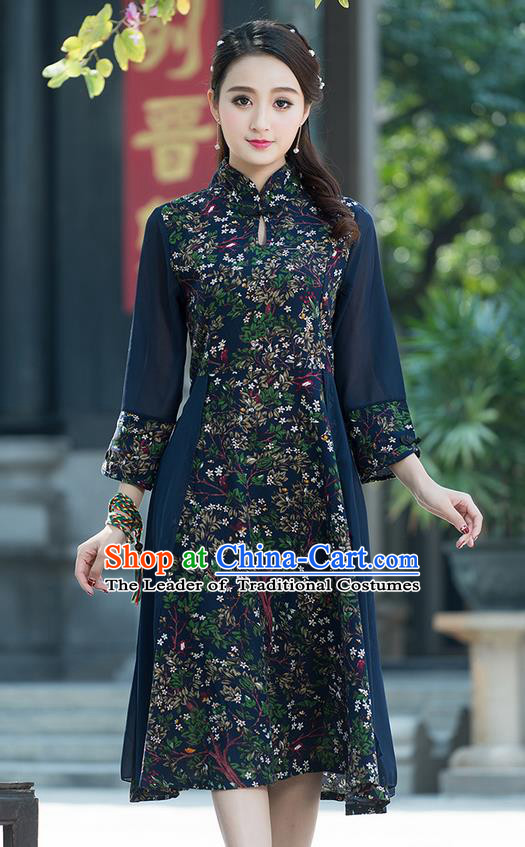 Traditional Ancient Chinese National Costume, Elegant Hanfu Mandarin Qipao Printing Flowers Dress, China Tang Suit Chirpaur Elegant Dress Clothing for Women
