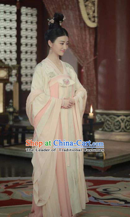 Traditional Ancient Chinese Elegant Aristocratic Princess Costume, Chinese Tang Dynasty Palace Lady Dress, Cosplay Chinese Television Drama Princess Peri Imperial Empress Hanfu Trailing Embroidery Clothing for Women