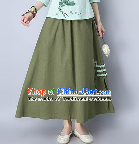 Traditional Ancient Chinese National Pleated Skirt Costume, Elegant Hanfu Embroidery Long Green Plated Buttons Dress, China Tang Suit National Minority Bust Skirt for Women