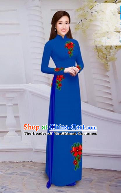 Top Grade Asian Vietnamese Traditional Dress, Vietnam Bride Ao Dai Hand Printing Flowers Dress, Vietnam Princess Royalblue Dress Cheongsam Clothing for Women