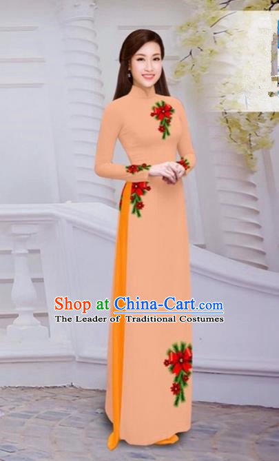 Top Grade Asian Vietnamese Traditional Dress, Vietnam Bride Ao Dai Hand Printing Flowers Dress, Vietnam Princess Orange Dress Cheongsam Clothing for Women