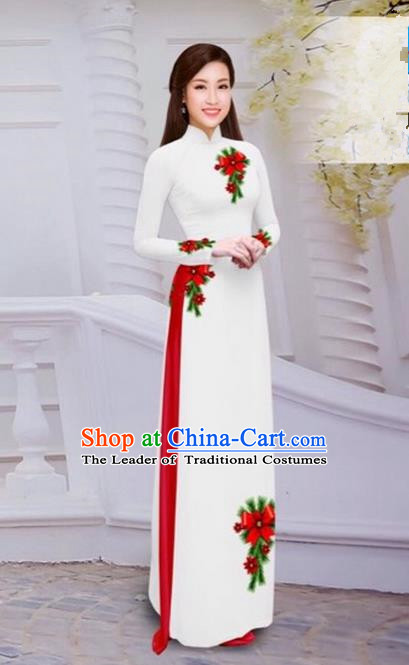 Top Grade Asian Vietnamese Traditional Dress, Vietnam Bride Ao Dai Hand Printing Flowers Dress, Vietnam Princess White Dress Cheongsam Clothing for Women