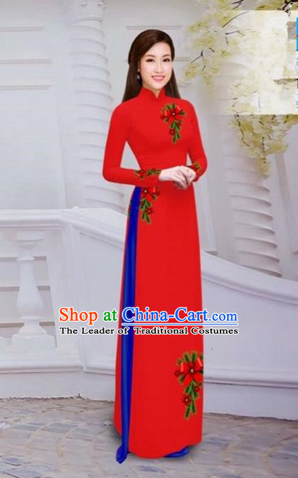 Top Grade Asian Vietnamese Traditional Dress, Vietnam Bride Ao Dai Hand Printing Flowers Dress, Vietnam Princess Red Dress Cheongsam Clothing for Women