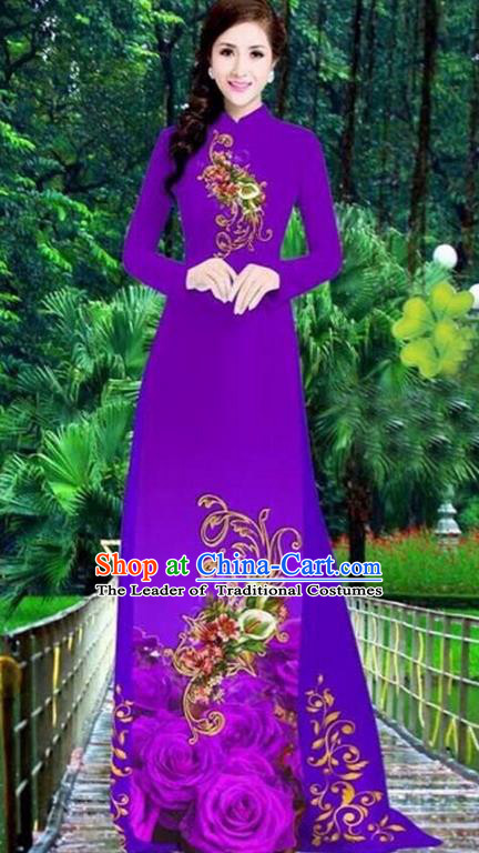 Top Grade Asian Vietnamese Traditional Dress, Vietnam Bride Ao Dai Dress, Princess Wedding Printing Peony Dress Purple Cheongsam Clothing for Women