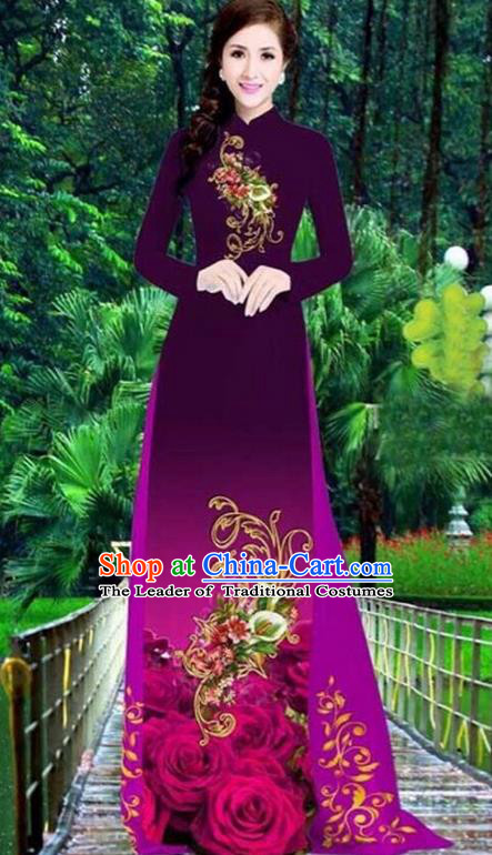 Top Grade Asian Vietnamese Traditional Dress, Vietnam Bride Ao Dai Dress, Princess Wedding Printing Peony Dress Wine Red Cheongsam Clothing for Women