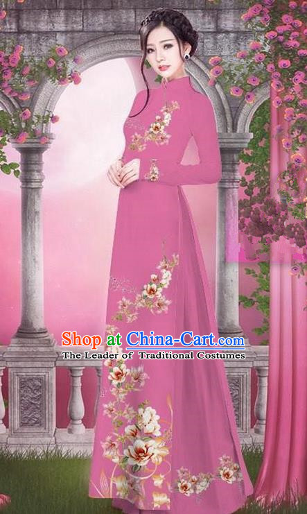 Top Grade Asian Vietnamese Traditional Dress, Vietnam Bride Ao Dai Printing Peach Blossom Flowers Dress, Vietnam Princess Deep Pink Dress Cheongsam Clothing for Women