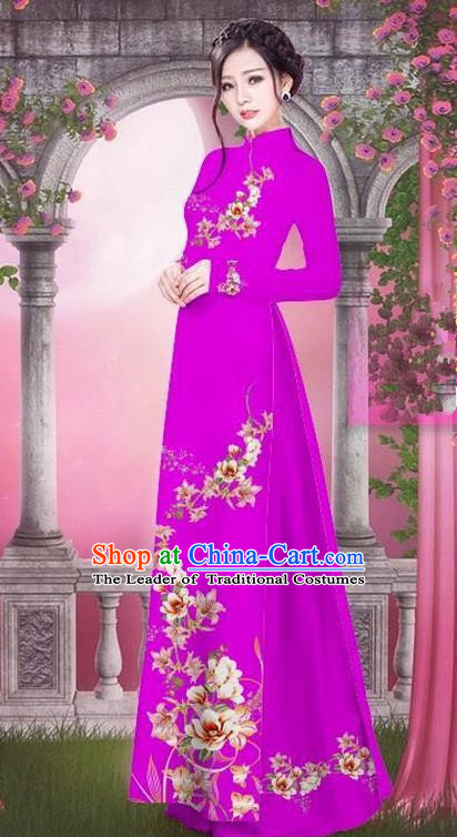 Top Grade Asian Vietnamese Traditional Dress, Vietnam Bride Ao Dai Printing Peach Blossom Flowers Dress, Vietnam Princess Rose Dress Cheongsam Clothing for Women
