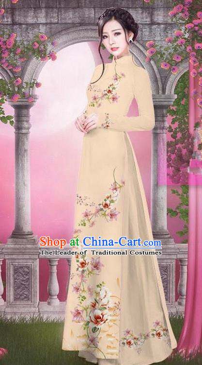 Top Grade Asian Vietnamese Traditional Dress, Vietnam Bride Ao Dai Printing Peach Blossom Flowers Dress, Vietnam Princess Khaki Dress Cheongsam Clothing for Women