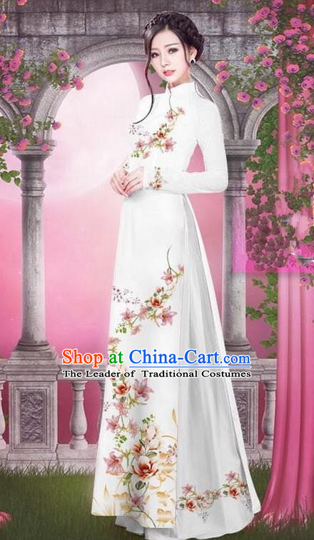 Top Grade Asian Vietnamese Traditional Dress, Vietnam Bride Ao Dai Printing Peach Blossom Flowers Dress, Vietnam Princess White Dress Cheongsam Clothing for Women